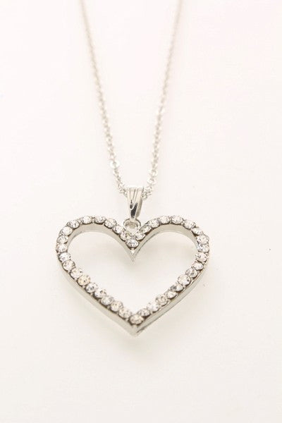 Silver High Polished Rhinestones Heart Pendant Necklace