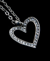 Silver Rhinestones Heart Pendant Necklace