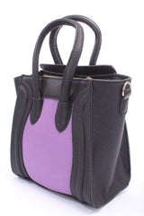 Black Purple Crinkle Textured Mini Tote Handbag