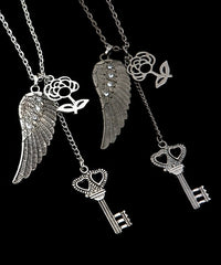 Angel Wings Rose Heart Key Pendant Necklace Silver or Charcoal Gray