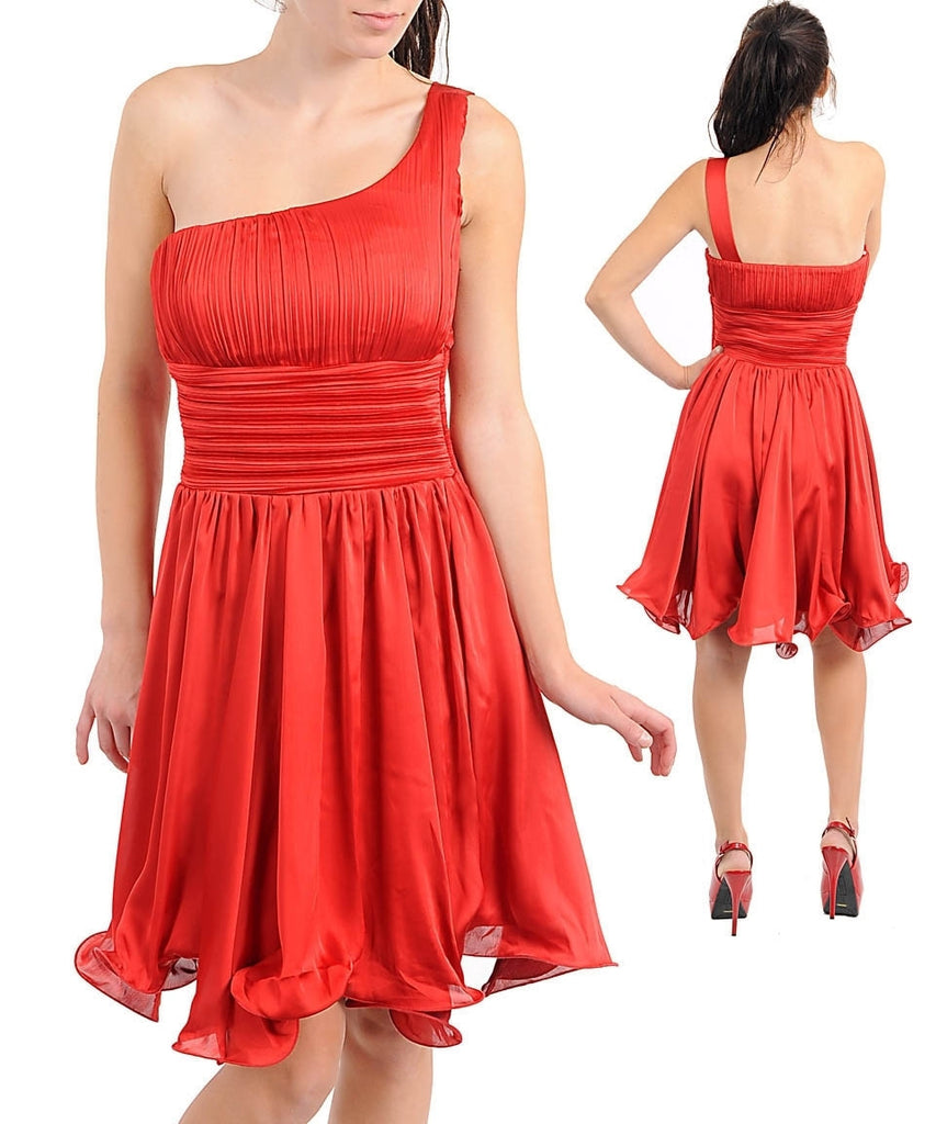Romantic Red One Shoulder Grecian Greek Cocktail Dress