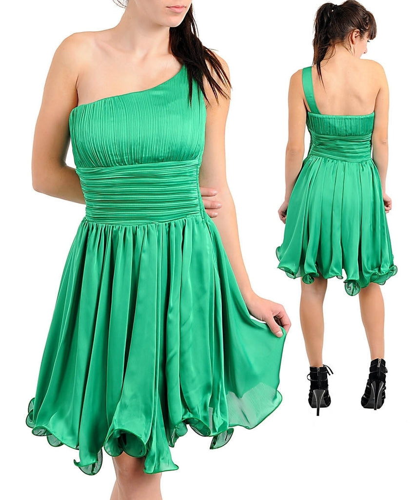Romantic Green One Shoulder Grecian Greek Cocktail Dress
