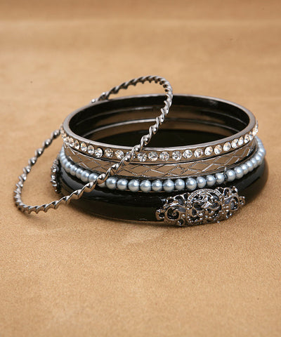 Black Silver and Pearl Bangle Set