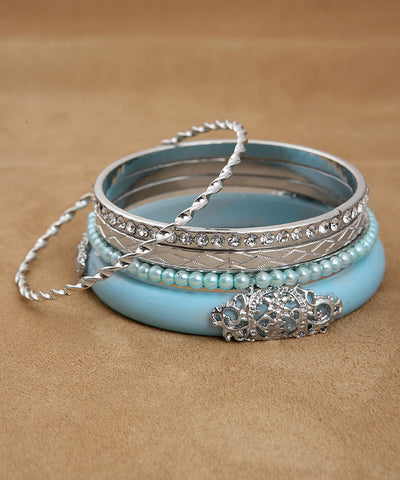 Blue Silver and Pearl Bangle Set