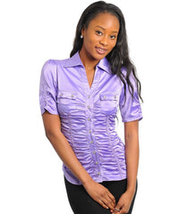 Lavender Career Satin Button Up Blouse