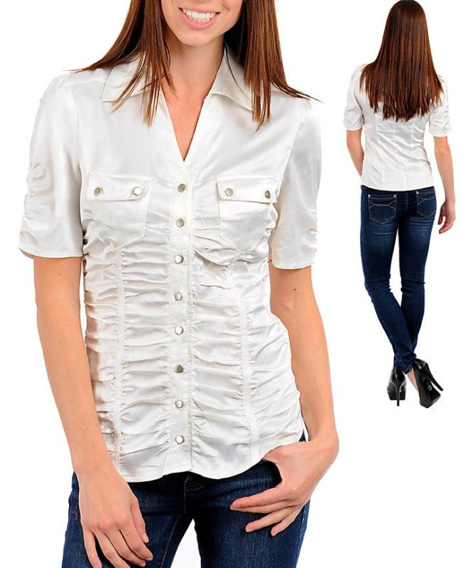 White Career Satin Button Up Blouse
