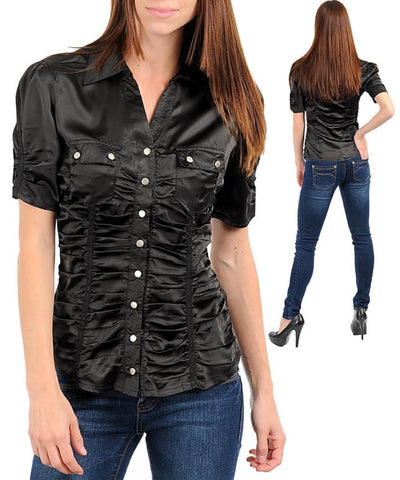Black Career Silk Satin Blouse Button Up Top