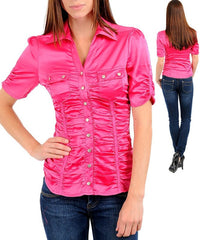 Fuchsia Pink Career Silk Satin Button Up Blouse Shirt Top
