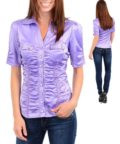 Lavender Purple Career Silk Satin Button Up Blouse Shirt Top