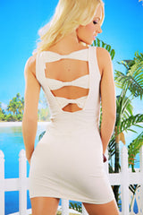 White Open Back Bows Sleeveless Mini Dress