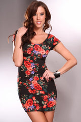Black Red Floral Print Short Sleeve Scoop Neck Mini Dress
