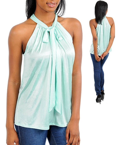 Mint Career Silk Satin Halter Blouse Shirt Top