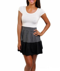 White Gray Black Cap Sleeves Empire Waist Color Block Mini Dress