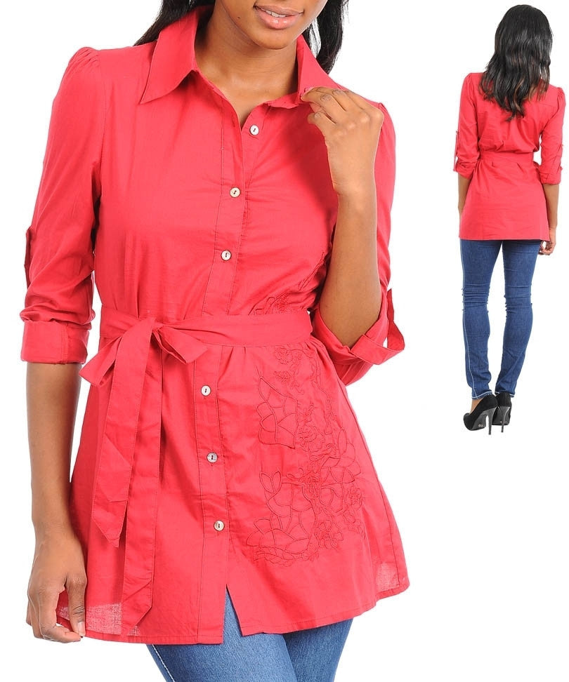 Red Career 3/4 Sleeve Collared Floral Detail Button Up Top