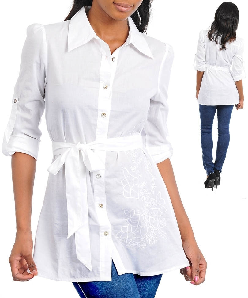 White Career 3/4 Sleeve Collared Floral Detail Button Up Top