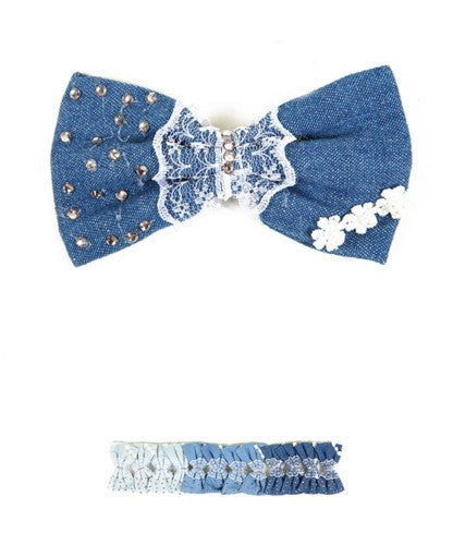 Denim Lace Rhinestones Hair Bow Clip White Blue Navy