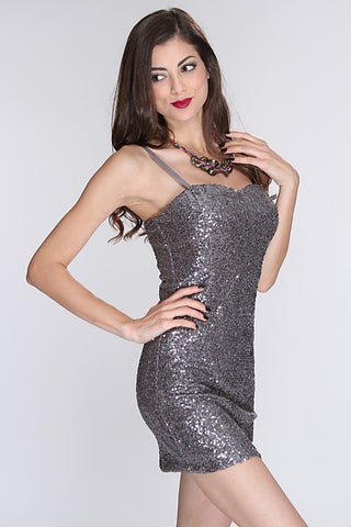 Silver Sequined Decor Fitted Party Dress