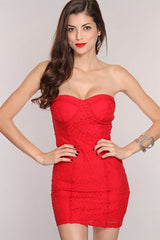 Red Floral Crochet Design Strapless Sweetheart Neckline Mini Dress