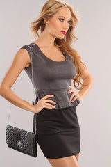 Charcoal Gray Black With Silver Shimmer Peplum Mini Dress