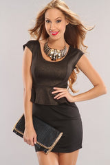 Black With Gold Shimmer Peplum Mini Dress