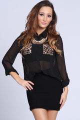 Chiffon Sheer Leopard Print Button Up Blouse Black