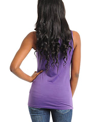 Purple Stretch Fit Studded Scoop Neck Tank Top