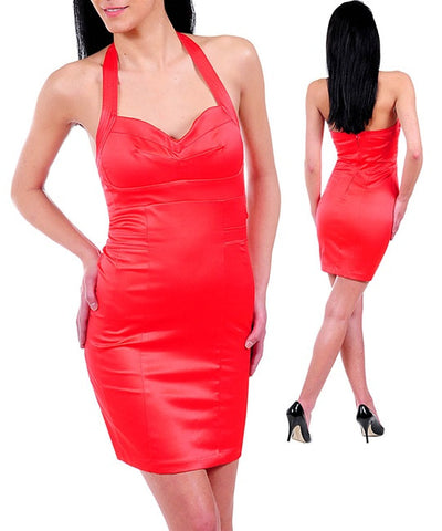 Coral Halter Neck Sexy Satin Cocktail Dress