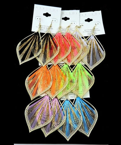 Neon Dangle Chandelier String Earrings