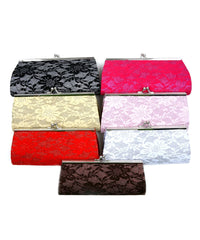 Hard Shell Textured Lace Floral Decor Glitter Clutch Handbag Purse