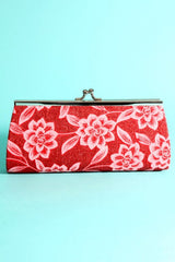 Hard Shell Floral Print Decor Glitter Detail Clutch Purse Handbag