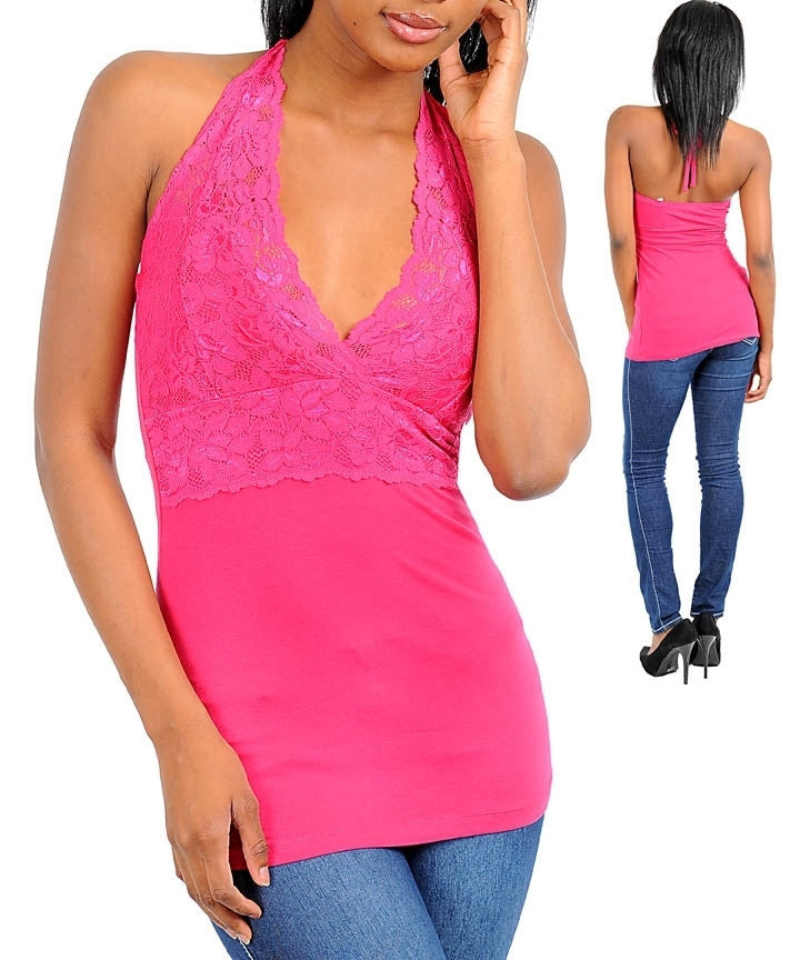 Fuchsia Pink Lace V Neck Sleeveless Halter Top