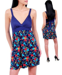 Navy Blue Floral Print Spaghetti Strap Dress