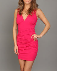 Fuchsia Pink V Neck Textured Cocktail Dress