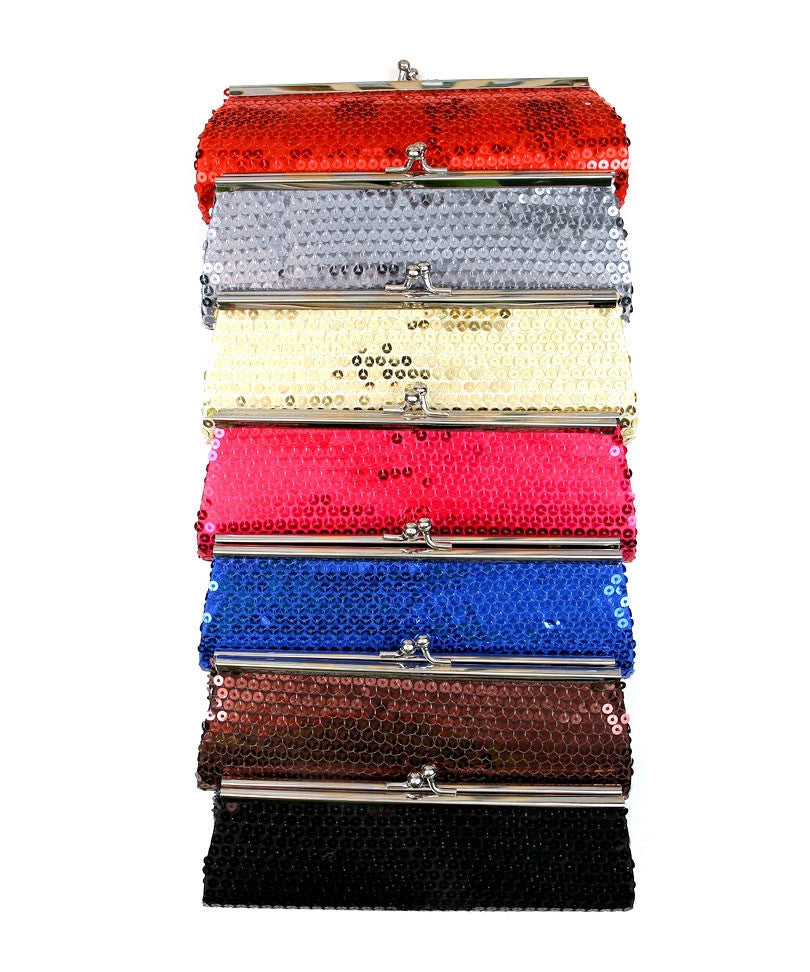 Hard Shell Sequined Decor Clutch Purse Handbag
