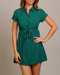 Green Vintage Style Button Up Heart Print Belted Collared Mini Dress