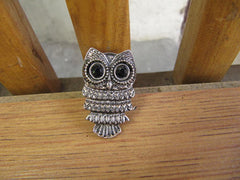 Adjustable Owl Ring Silver or Bronze
