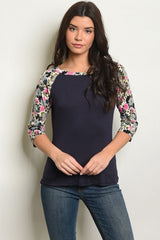 Navy Floral Long Sleeve Top