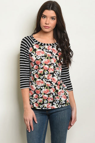 Black Stripes And Florals Long Sleeve Top