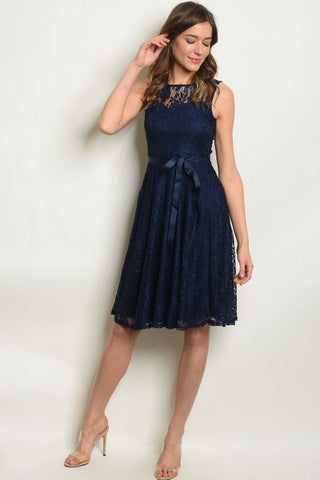 Who Says I Can't Navy Blue Lace Dress