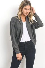 Charcoal Open Front Cardigan
