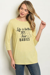 Yellow Life Is Better With Fur Babies Graphic Baseball Tee