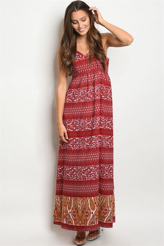 Burgundy Paisley Maxi Dress