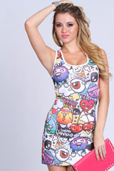White Comic Print Cut Out Sides Mini Dress
