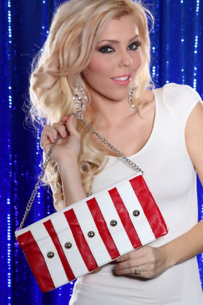 Red White Faux Leather Studded Clutch