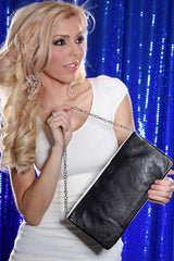 Black White Faux Leather Studded Clutch