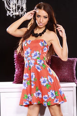 Orange Floral Print Strapless Sweetheart Neckline Mini Dress