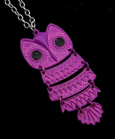 Owl Pendant Necklace Neon Purple