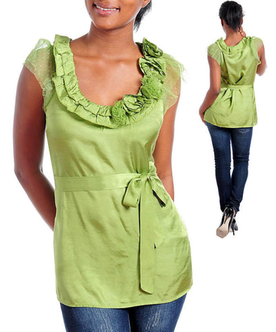 Career Olive Green Rosette Blouse Tunic Top Small