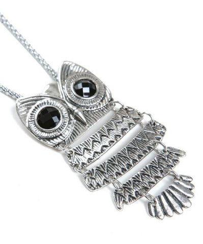 Owl Pendant Necklace Silver