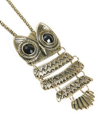Owl Pendant Necklace Bronze